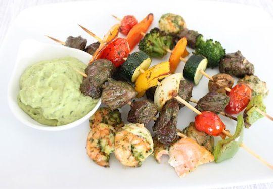 Meat and Vegetable Skewers in Basil Marinade | Mark's Daily Apple #meatmarinade