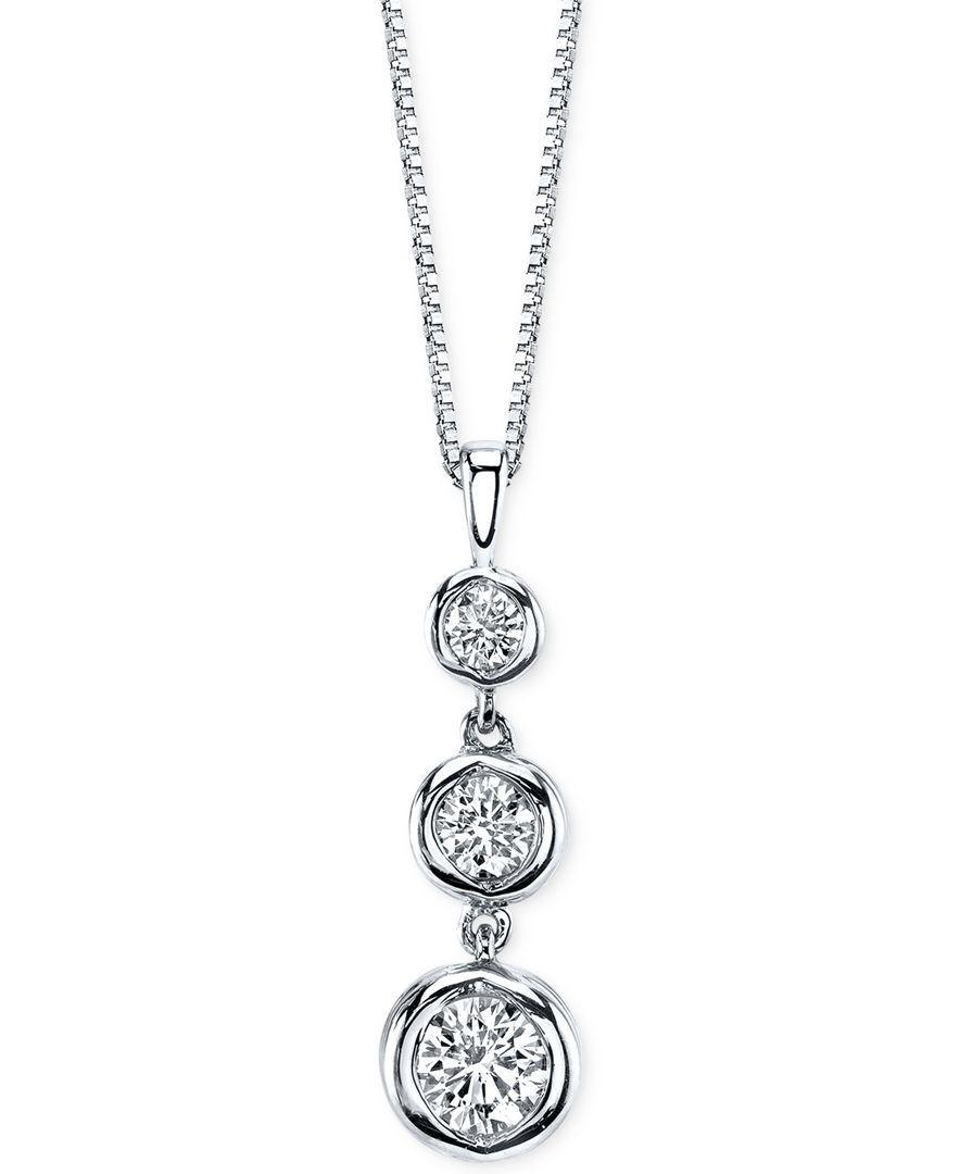 Sirena diamond three stone drop pendant necklace 12 ct tw in sirena diamond three stone drop pendant necklace 12 ct tw in 14k gold or white gold aloadofball Choice Image