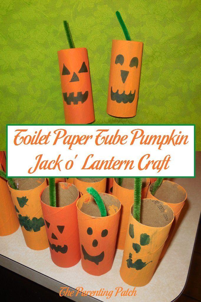 Toilet Paper Tube Pumpkin Jack o\u0027 Lantern Craft Toilet paper - halloween decorations for kids to make