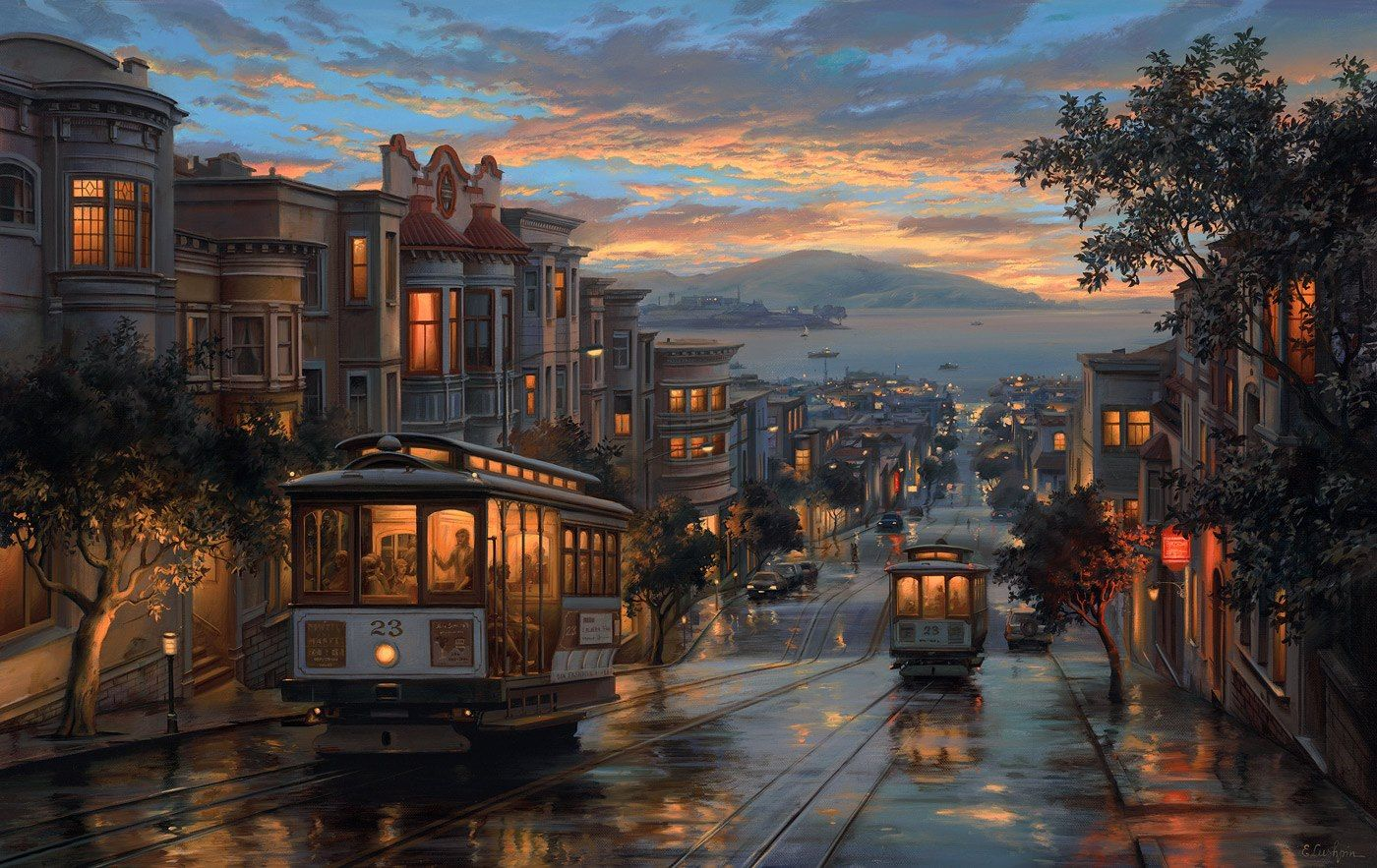 Обои eugeny lushpin, street, port, landscape, evening, painting, lushpin, An evening journey. Города foto 10