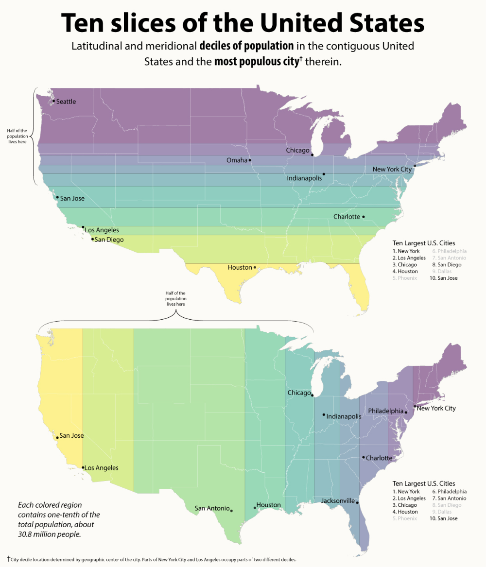 How Split The United States Into Areas Of Similar Population Vivid Maps In 2020 Amazing Maps Infographic Map Historical Geography