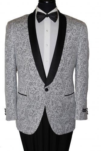 Shawl Colar Paisley Blazer Mens Tuxedo Jacket slim fit By Tazio silver paisley #TAZIO #OneButton