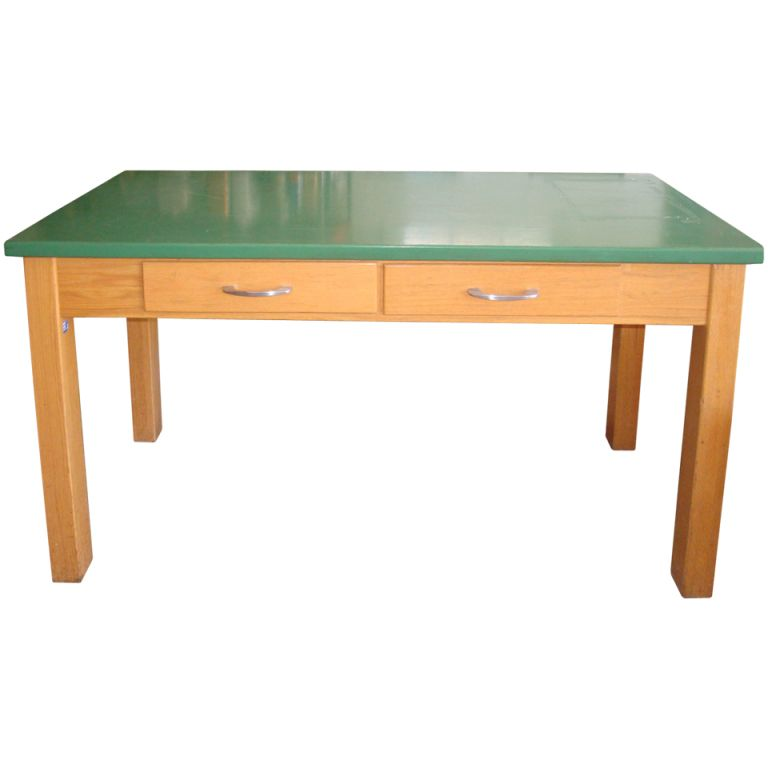 1stdibs   School Lab Table With Oak Base And Epoxy Resin Top; Two Available  Explore