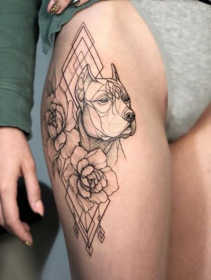 34 Ideas For Dogs Tattoo Dotwork