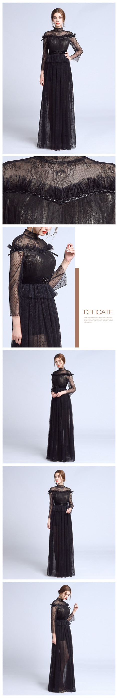 Chic sheathcolumn tulle high neck black lace long sleeve prom dress