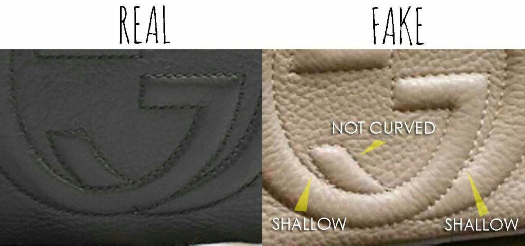 c19a8d0ccec Real vs. Fake Gucci Soho bag. Note inconsistency of GG interlocking logo.  The points where the two G meets look shallow