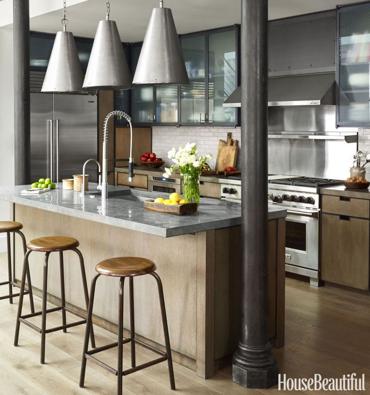 This industrial style kitchen masters mixed materials for New york style kitchen design