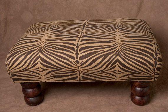 Pleasant Vintage African Zebra Print Bench Ottoman Coffee Table Machost Co Dining Chair Design Ideas Machostcouk