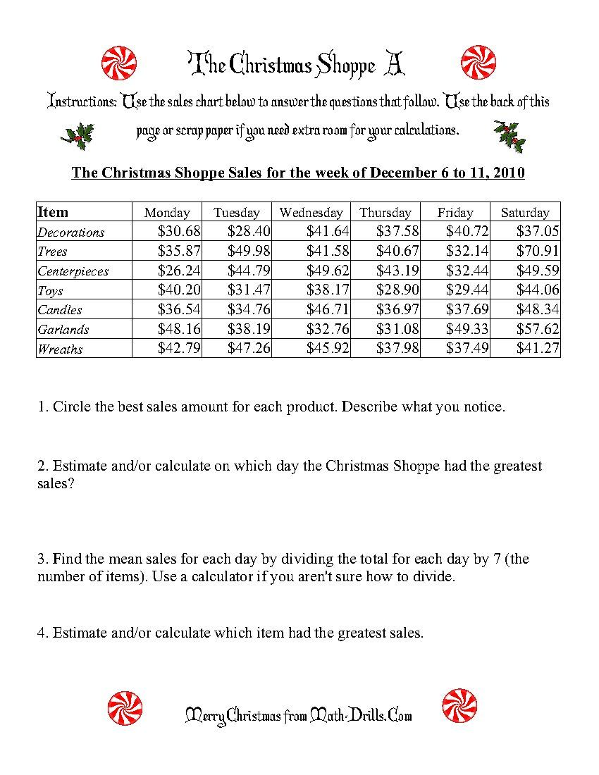 The Christmas Shoppe: Worksheets that require adding and dividing decimal  numbers (finding the…   Christmas math worksheets [ 1100 x 850 Pixel ]
