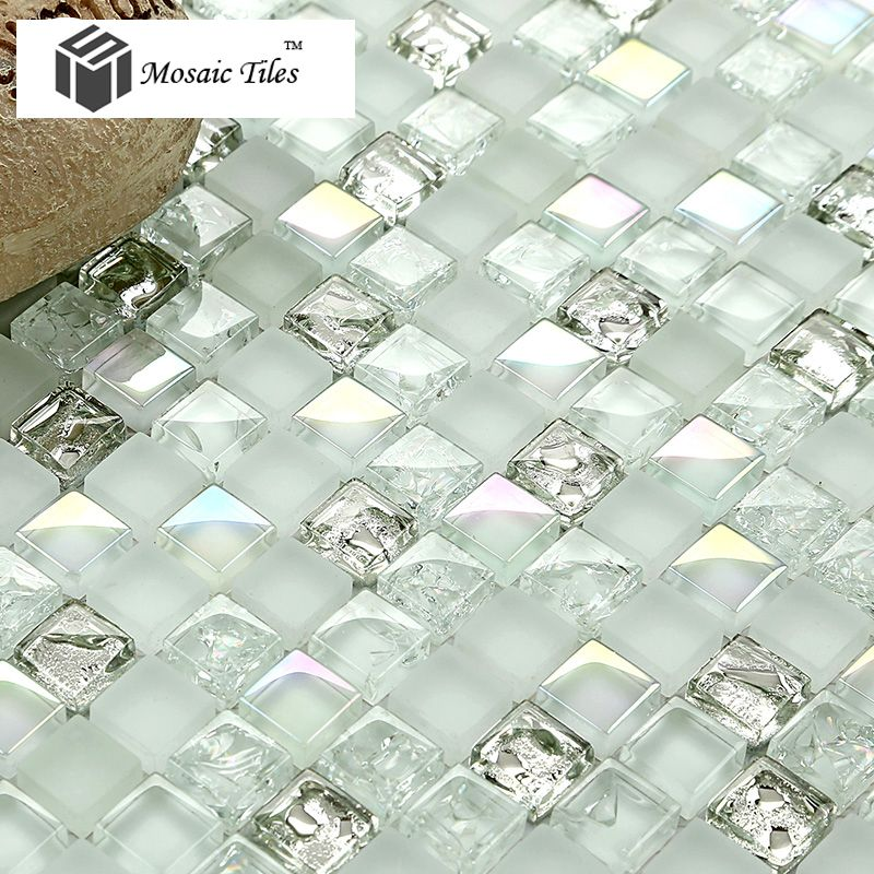 white iridescent mosaics glass silver kitchen backsplash tile bathroom wall mirror deco tiles fireplace tile