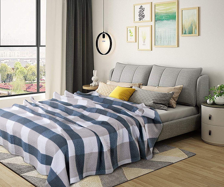 Amazon Queen Bleu woltu bwp5016bl couvre-lit 100% coton,jeté de lit couverture