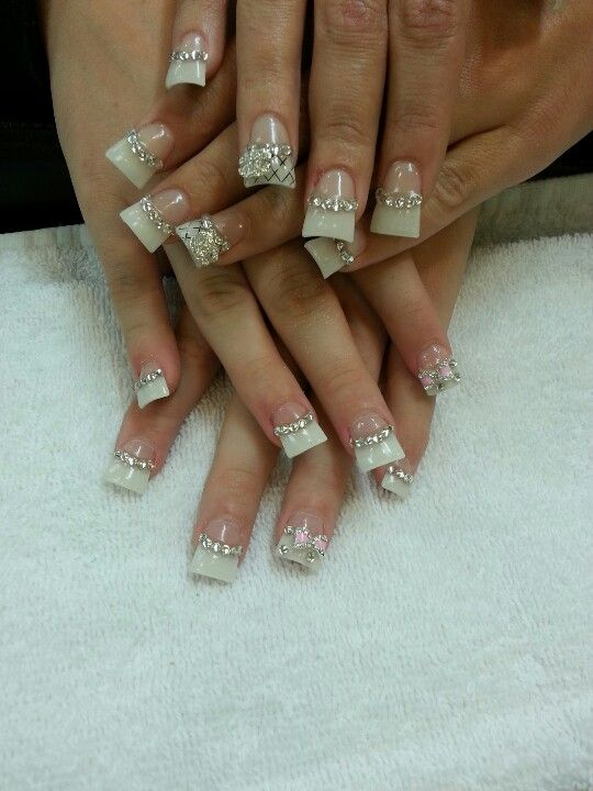 acrylic nails with diamonds and 3 d bow nails art