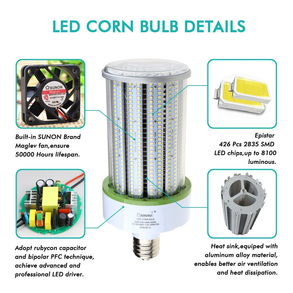 Dodoro 100 Watt Led Corn Blublarge Mogul E39 Base5000k Daylight White13500 Lumens700w Halogen Bulb Equivalentreplace Hid Cfl Hp In 2020 Flood Lights Halogen Bulbs Bulb