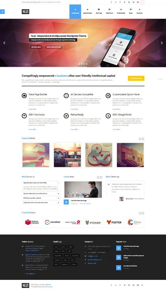Nuzi, WordPress Retina Ready Business Theme | Web Design - Templates ...