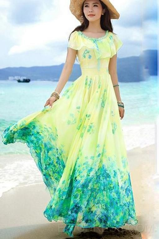 760b24f0c Cool Summer Bohemia Style Holiday Maxi Dress LOVE THE COLORS From EricDress