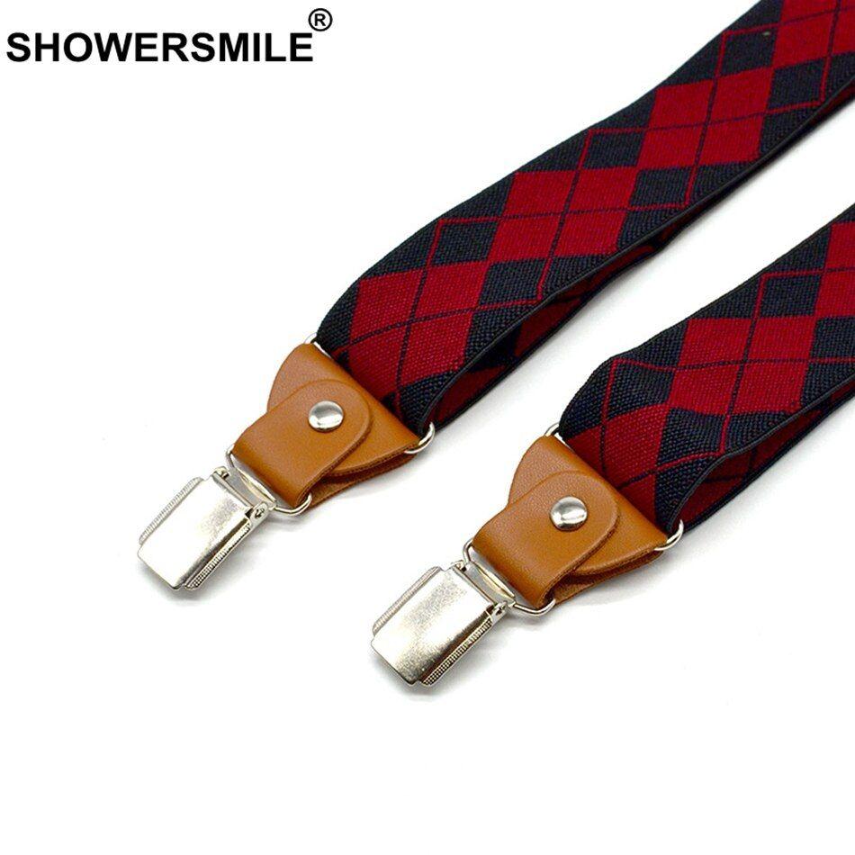 MenS Suspenders Adjustable Suspenders Red Plaids Clips On Y-Back Braces Elastic