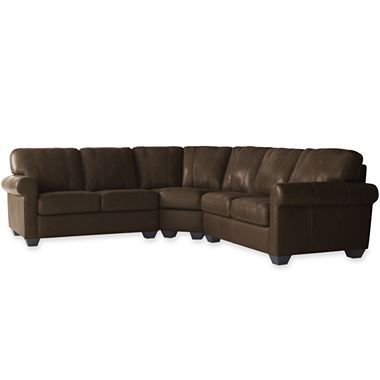 Leather 3 Pc Roll Arm Sectional Sofa Jcpenney Leather Sectional Comforter Sets Sectional Sofa