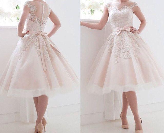 Details zu Kurze Spitze Hochzeitskleider Mit Bogen Brautkleider ...