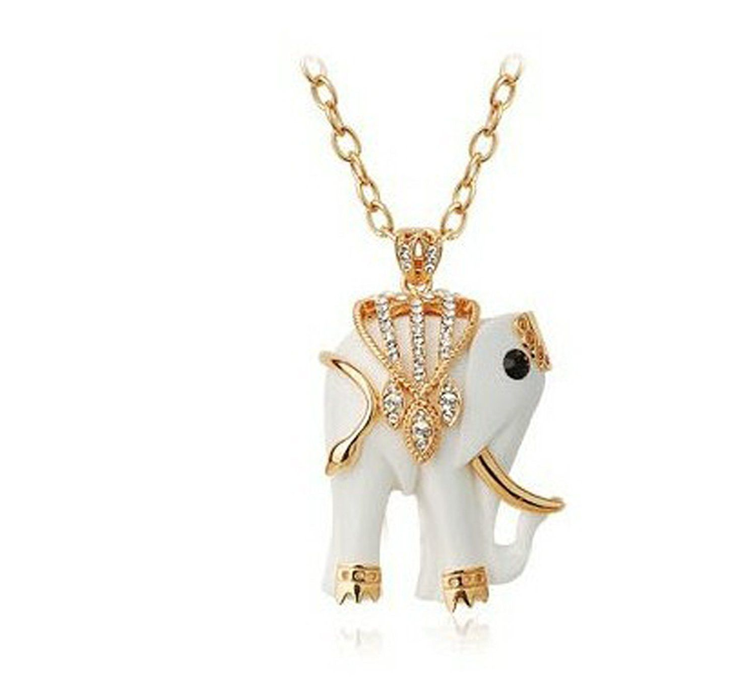 Yoursfs k rose gold plated white enamel elephant sweater chain