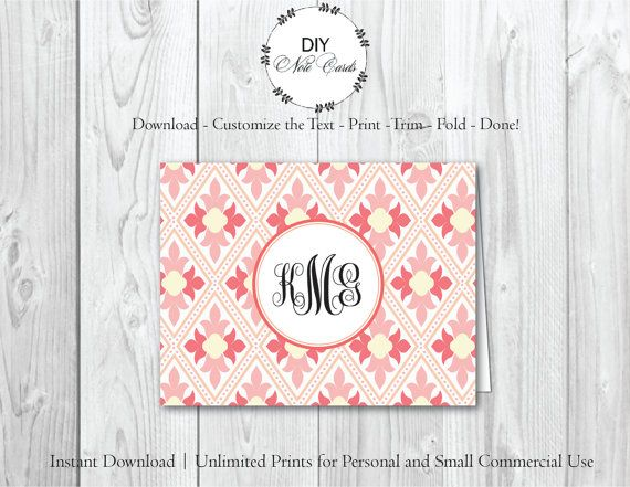 SPRING DAMASK - DIY Printable Customizable Note Card Template - a2 envelope template