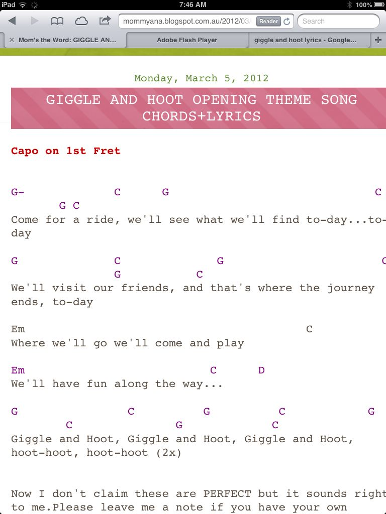 Giggle And Hoot Opening Song Lyrics Giggle Lyrics Words