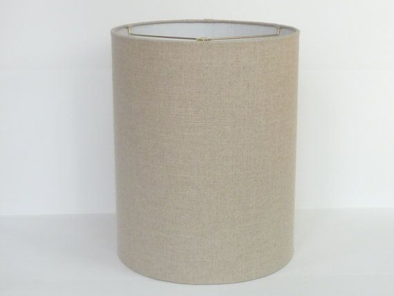 Mid Century Modern Linen Drum Lampshade, Tall Barrel Lamp Shades