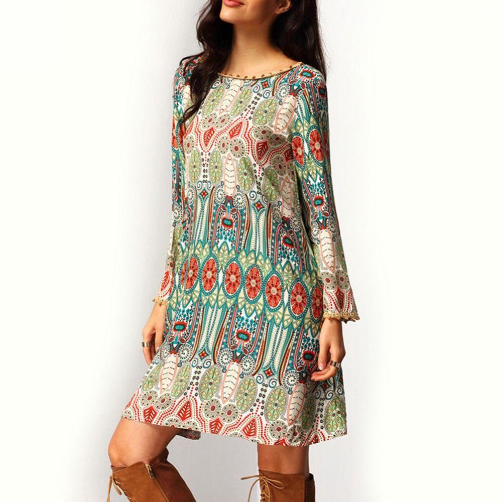 fashion summer vintage ethnic dress sexy women boho floral