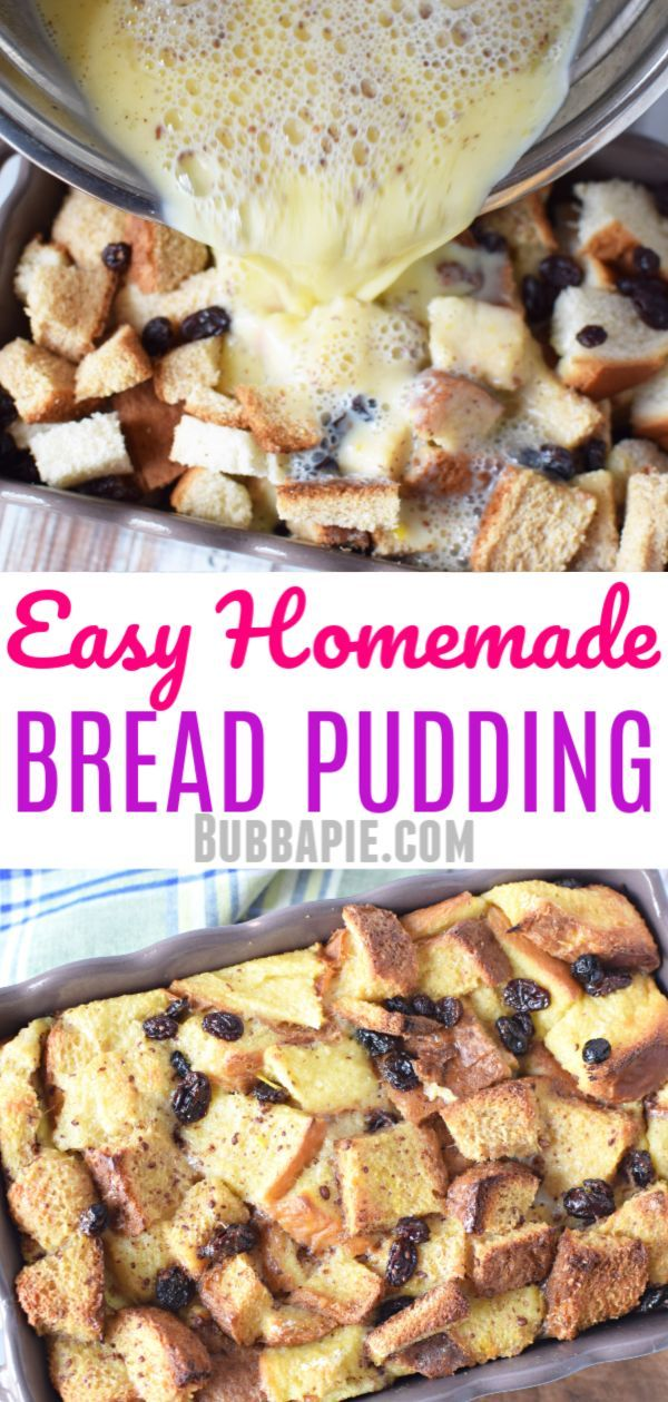 This simple homemade bread pudding recipe is the traditional old fashioned …