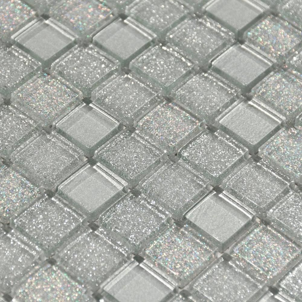 Shiny Gray Mix Glass Mosaic Floor Decor Sparkle Tiles Glitter Bathroom Glitter Tiles