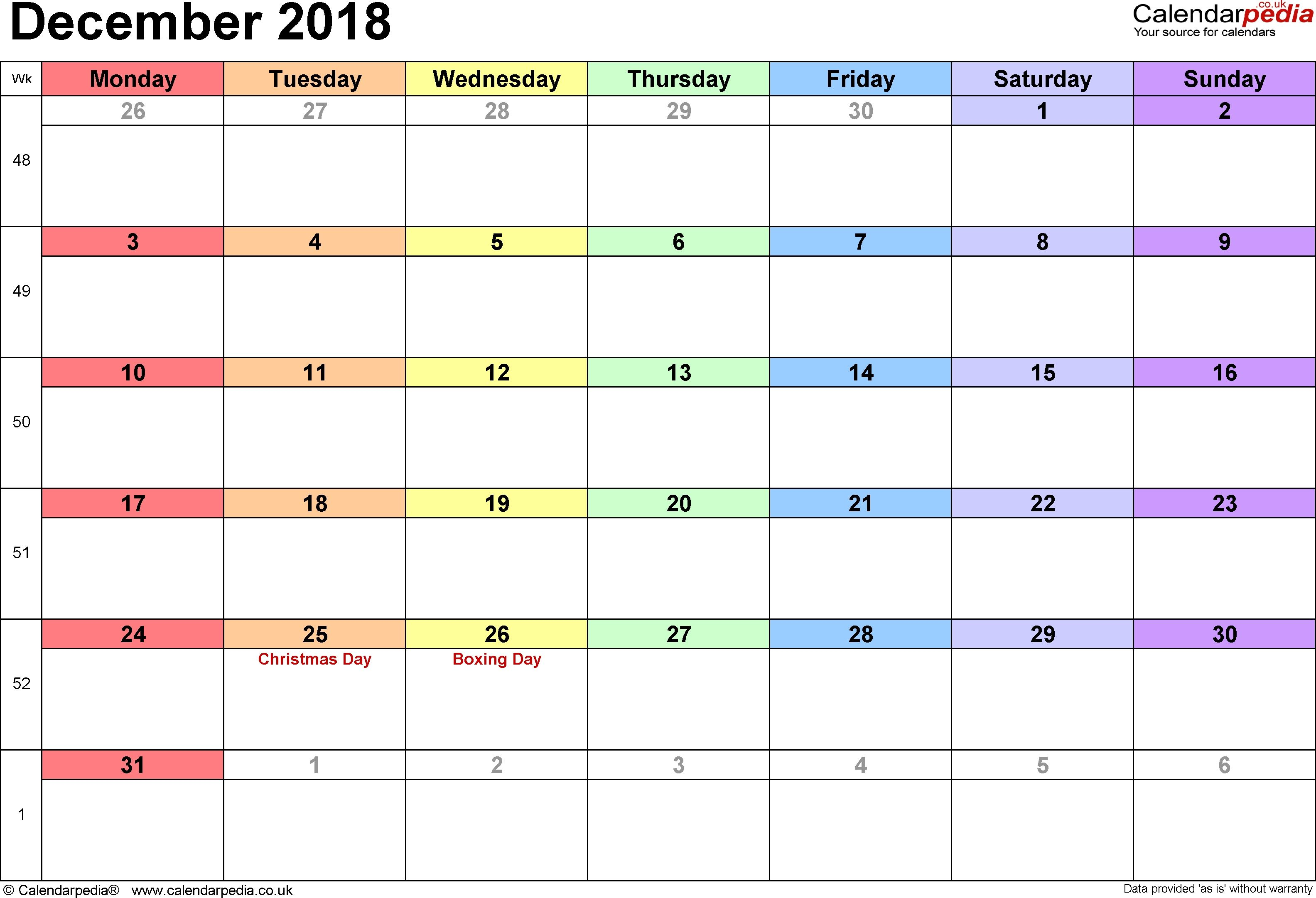 calendar december 2018 uk bank holidays excelpdfword templates for dec 2018 calendar with holidays