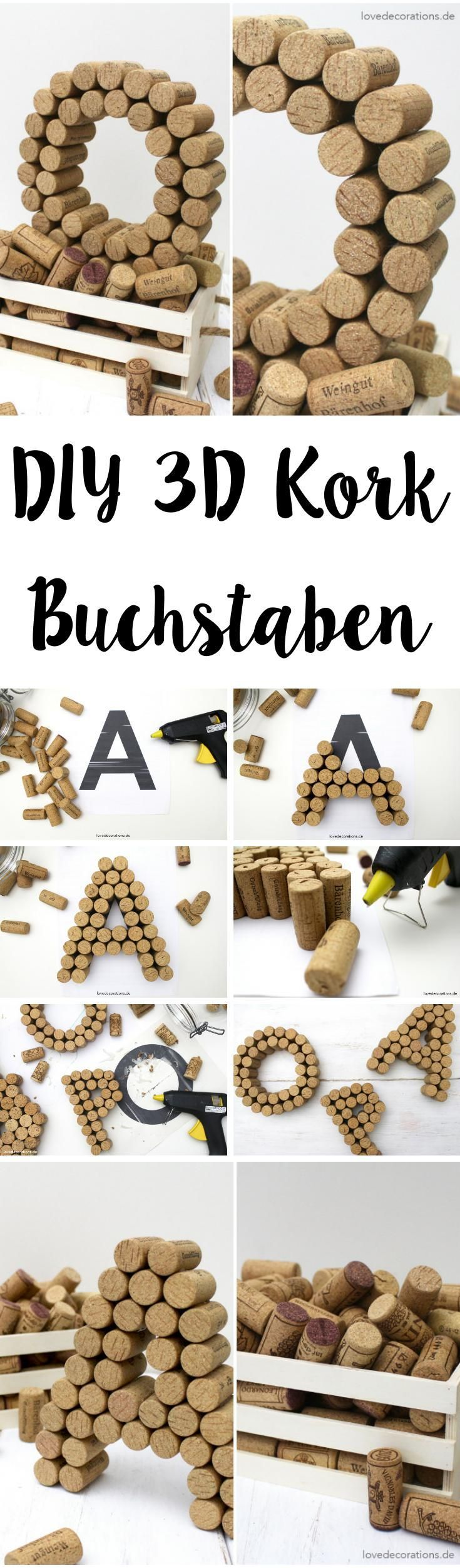 diy 3d buchstaben aus korken korken buchstaben und bastelideen. Black Bedroom Furniture Sets. Home Design Ideas