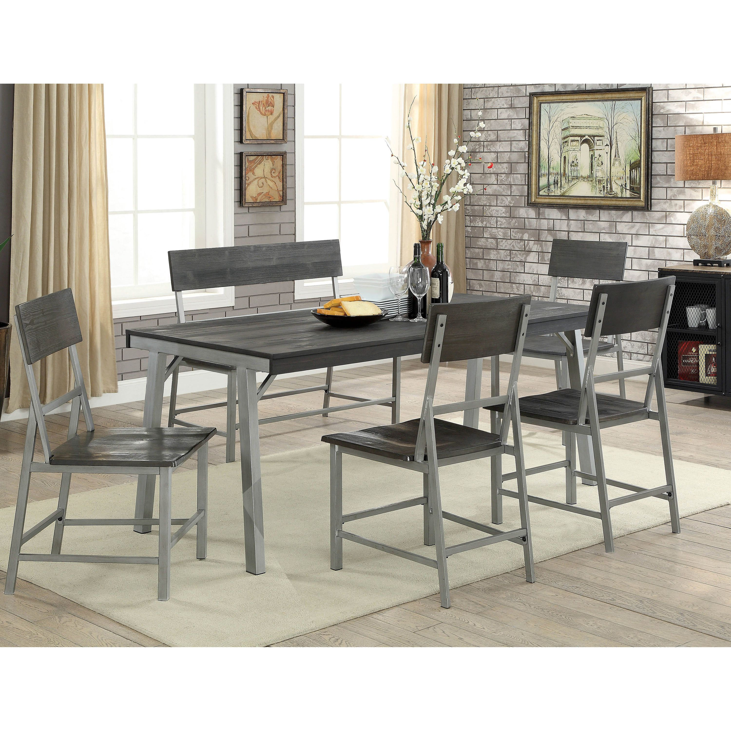 Magnificent Furniture Of America Adams Industrial 70 Inch Metal Dining Beatyapartments Chair Design Images Beatyapartmentscom
