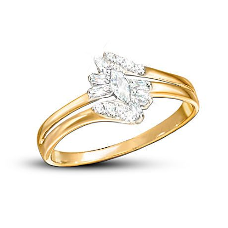Fire And Ice 10K Solid Gold Diamond Ring