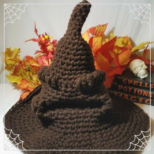 Magic sorting hat - crochet hat - wizard hat - Photo prop - gender ... 03cad163052