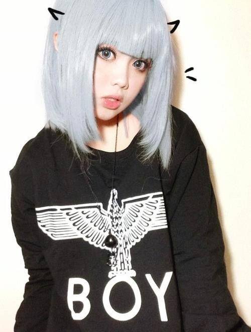 cute asian short pastel blue hair with bangs wig hair