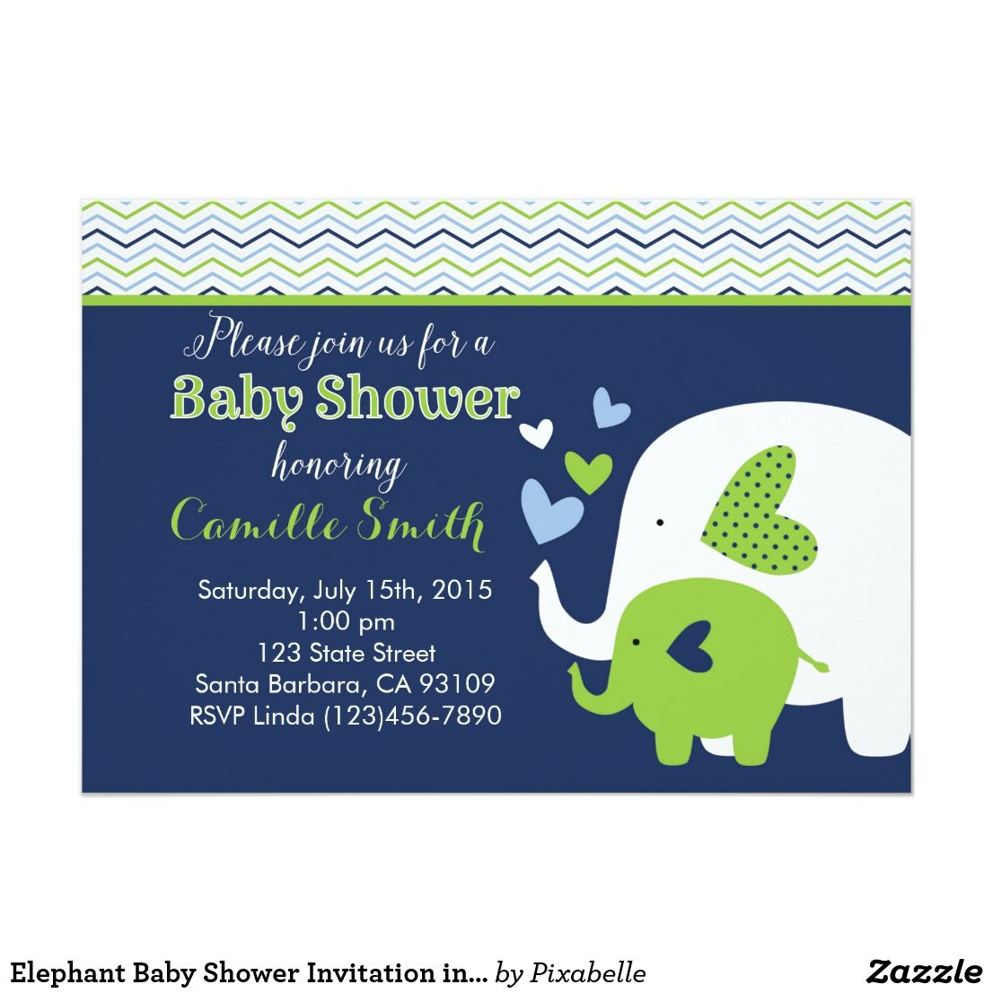 Elephant Baby Shower Invitation in Navy and Green   Elephant baby ...