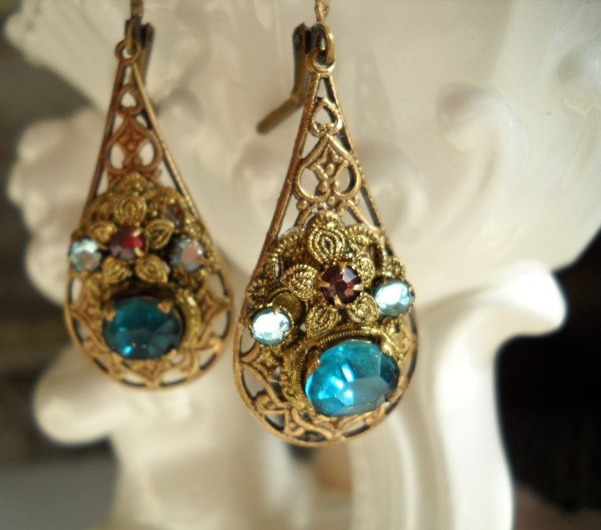 Vintage Emblage Earrings 1930s Rhinestone Filigree West Germany Aqua And Purple Br Drops Free Shipping