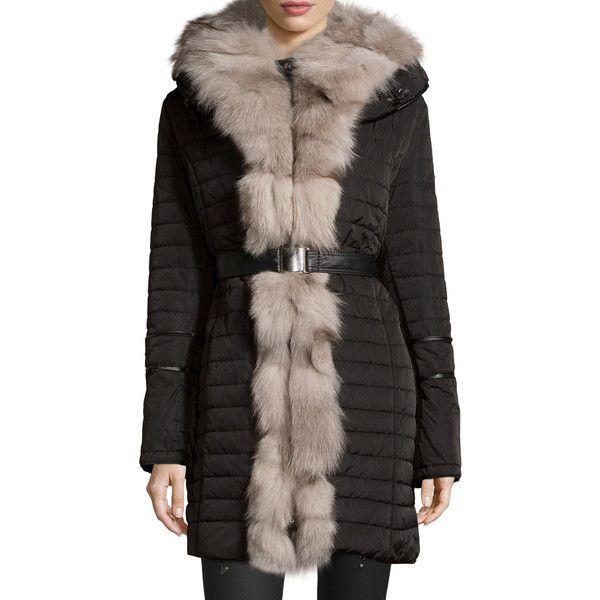 Black ski jacket fur trim