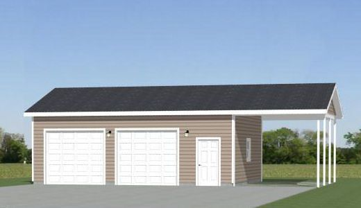 30x24 2 Car Garage With Carport 720 Sqft Pdf Floor Plan