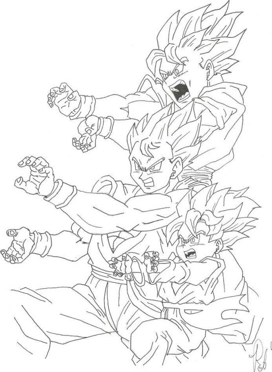 Dragon Ball Z Coloring Book Online : Goku and his sons unleashing kamehameha in dragon ball z coloring