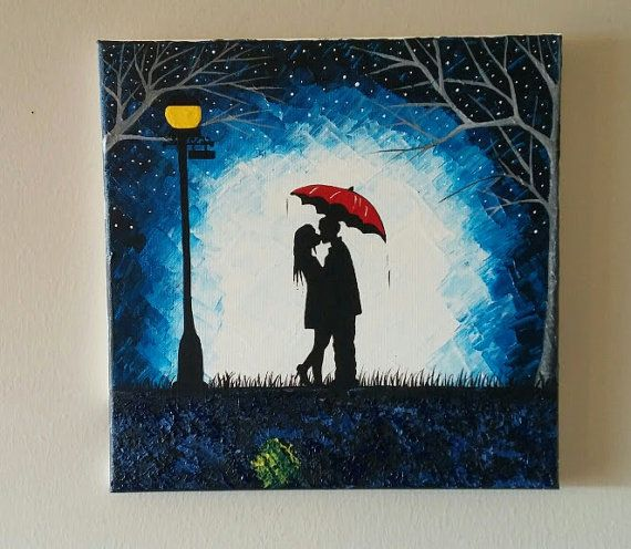 original couple kissing in the rain wall artcouple with