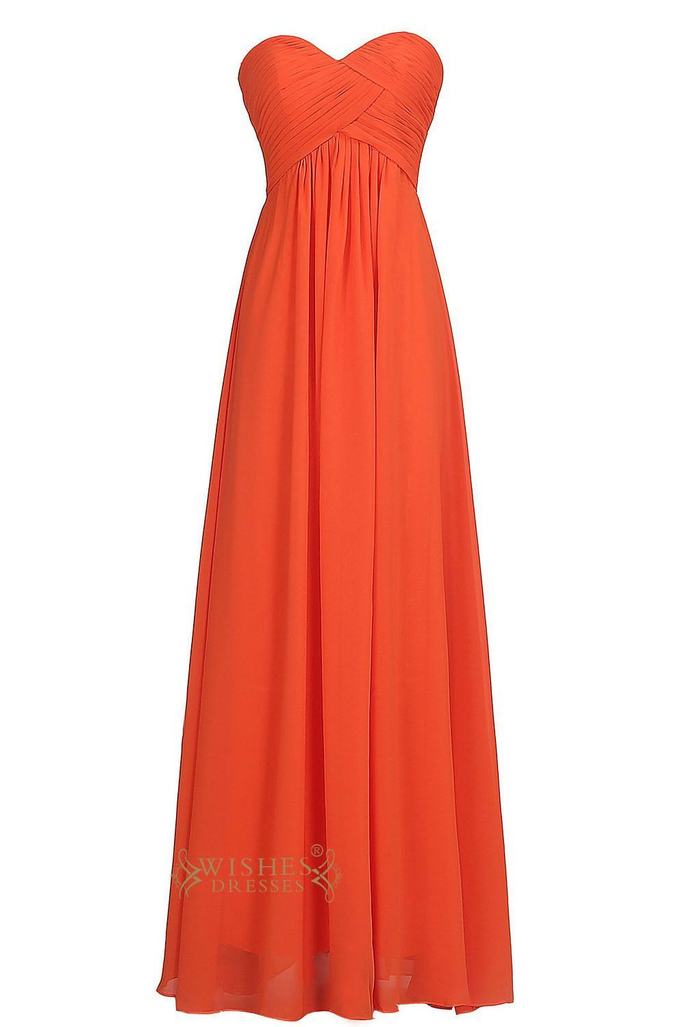 Sweetheart orange red chiffon empire floor length bridesmaid dresses