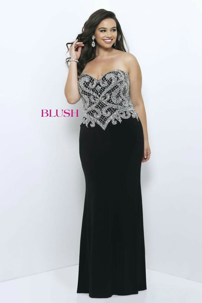 Blush Too 9301W Plus Size Beaded Jersey Gown | Curvaceous Semblance ...