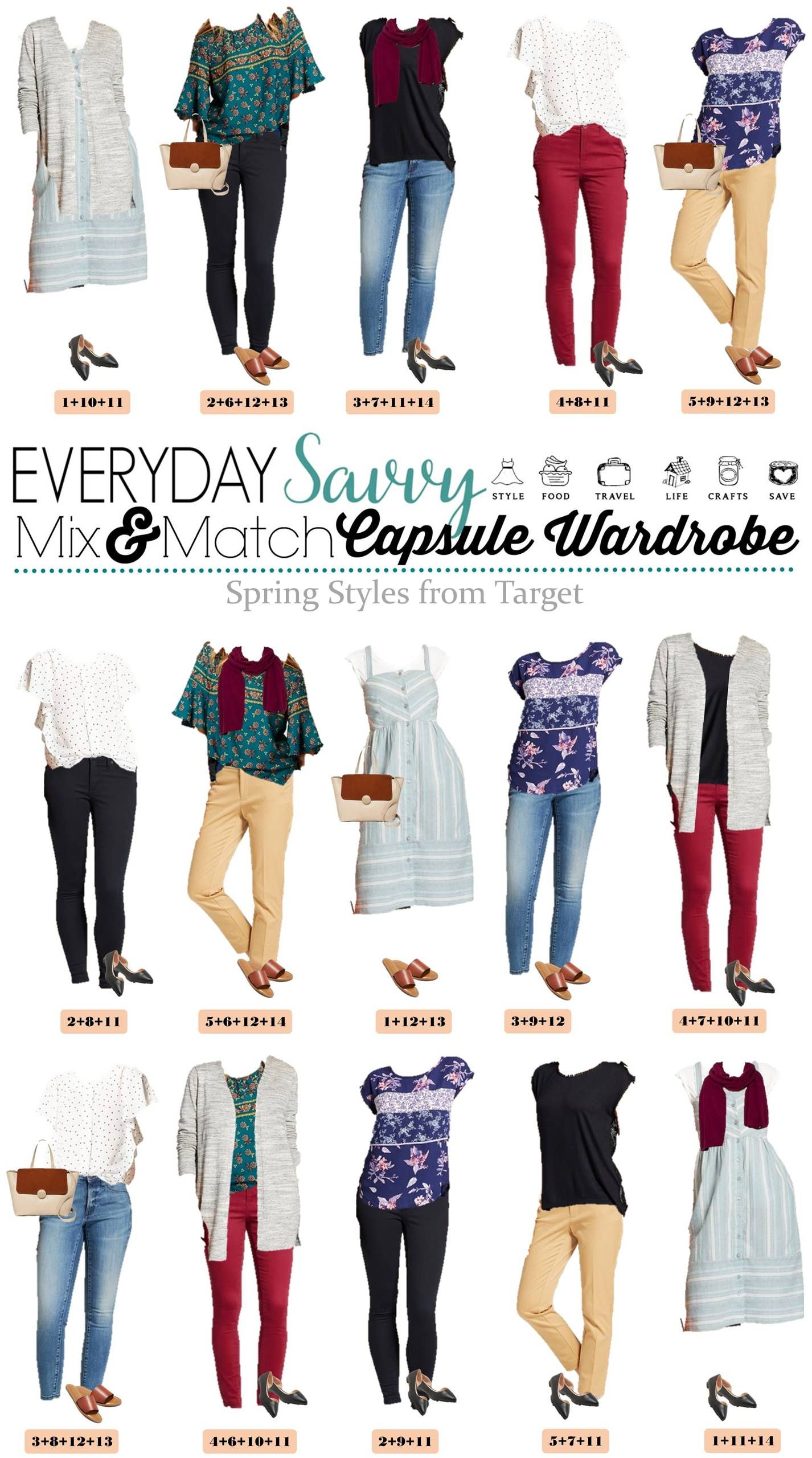 521c4c8a85 Fun Spring Target Capsule Wardrobe updated for 2018. Casual and cute mix  and match outfits that are fun and frugal.  target  capsulewardrobe