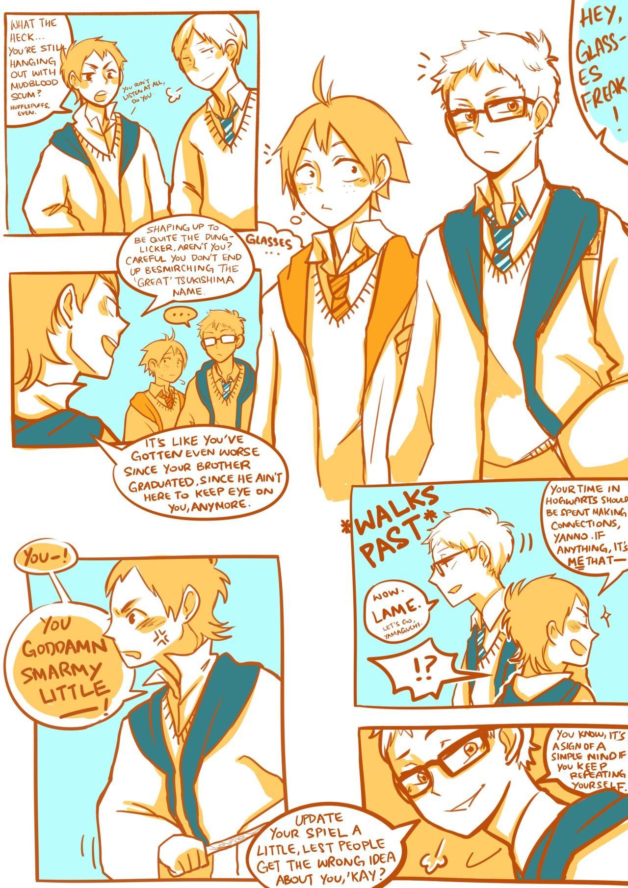 Short comic! 1/2 Haikyuu!! x Harry Potter crossover Tsukishima x Yamaguchi