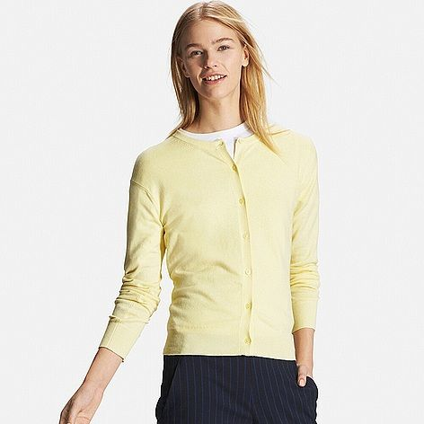 WOMEN Cotton Cashmere Crew Neck Cardigan | Uniqlo | Pinterest ...