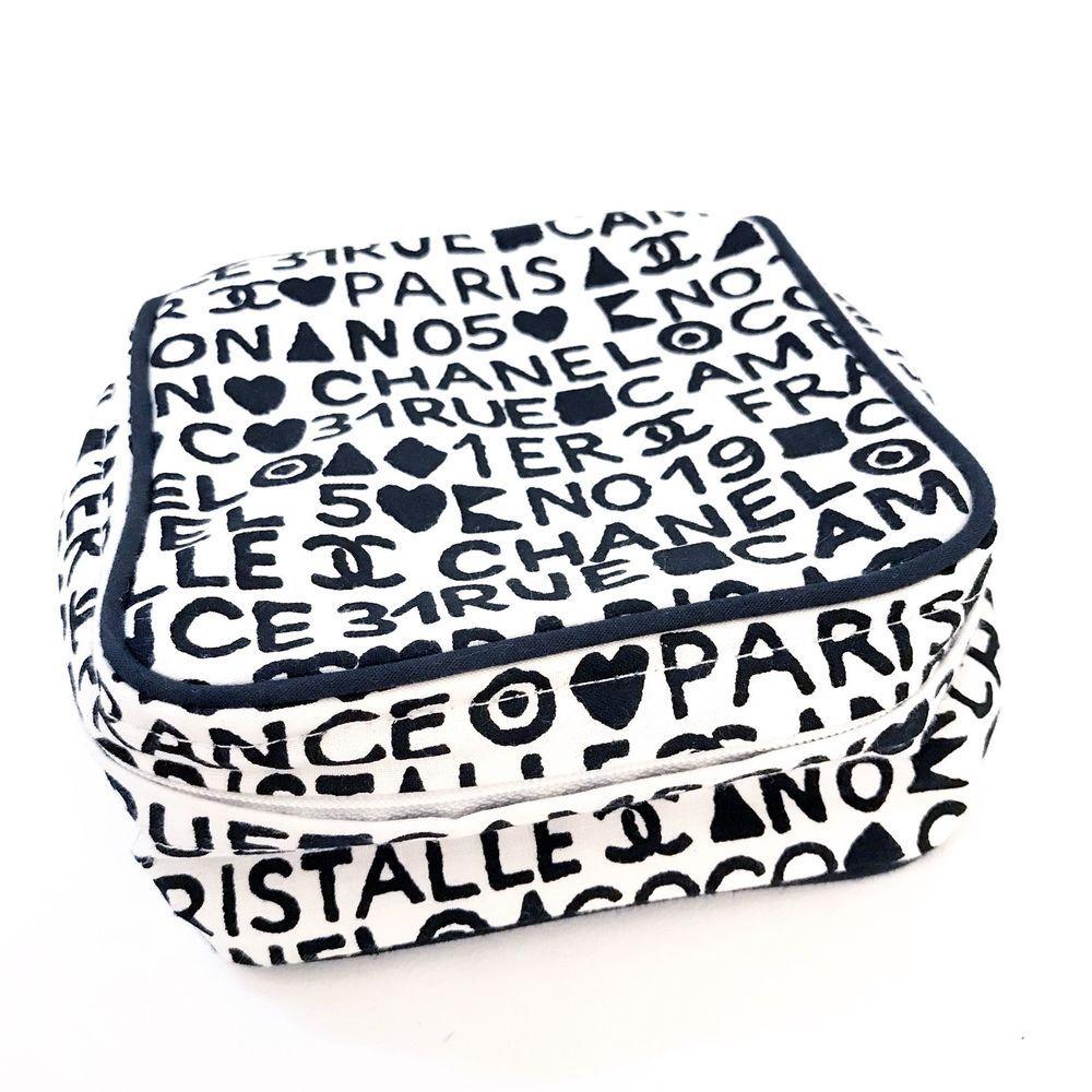 Chanel Cosmetic Case Makeup Bag Zipper Logo Black White