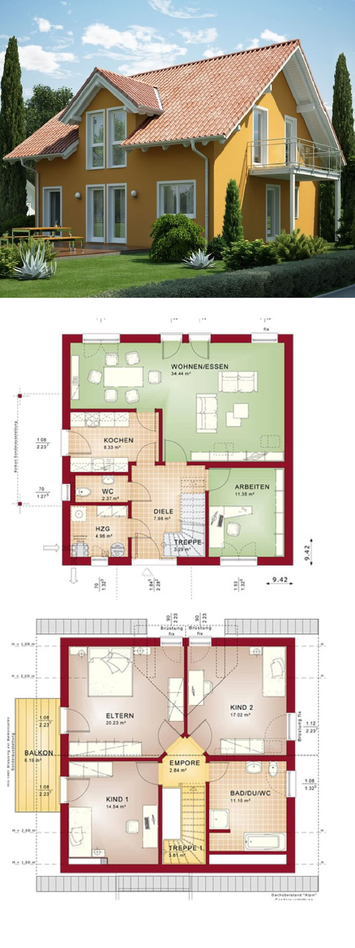 Lovely Einfamilienhaus Mediterraner Stil   Haus Evolution 143 V2 Bien Zenker  Fertighaus Mit Satteldach Moderner Grundriss Separate