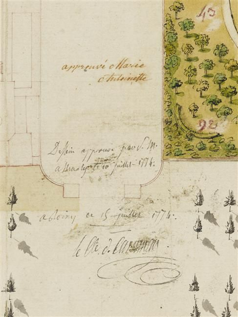 First draft of the layout for the gardens of the Petit Trianon. Approved and signed by Marie Antoinette on July 10th, 1774.