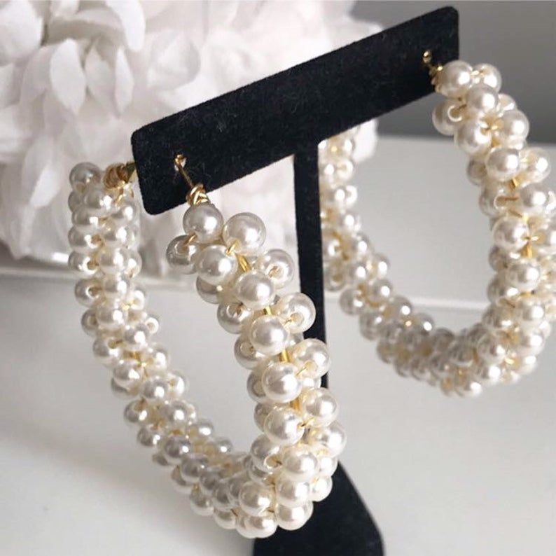 Photo of Pearl Gold Hoops Hoop Earrings Gold Hoops Gold Hoops Pearl
